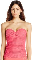 Anne Cole Women's Twist-Front Shirred Underwire Lace Crochet Bandeau Tankini