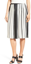 Vince Camuto Stripe Pleat A-Line Skirt