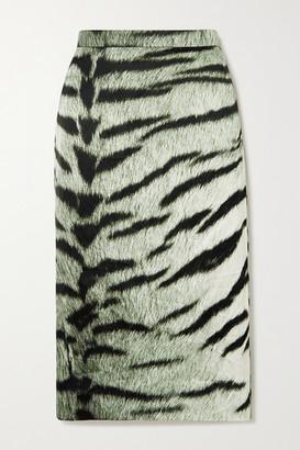 Dries Van Noten Zebra-print Crepe Pencil Skirt - Gray