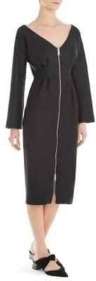 Sara Battaglia Long-Sleeve Zip-Front Sheath Dress