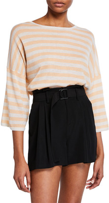 Vince Boxy-Fit Striped Wool-Cashmere T-Shirt
