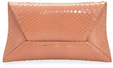 VBH Manila Shiny Python Clutch Bag, Salmon