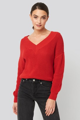 NA-KD V-Neck Wide Rib Knitted Sweater Red