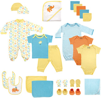 Luvable Friends Boys' Infant Bodysuits Yellow - Blue 24-Piece Bodysuit & Towel Gift Pack - Newborn