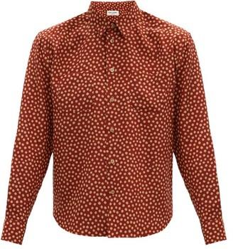 Saint Laurent Polka-dot Silk-satin Shirt - Orange