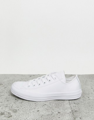 Converse Chuck Taylor All Star Ox white leather monochrome trainers
