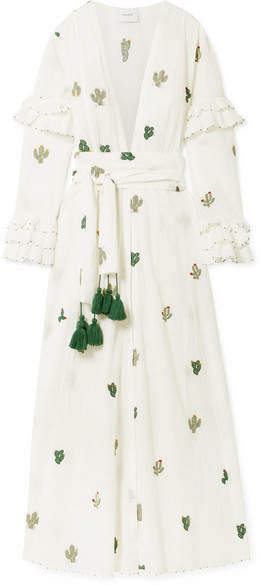 Leone we are Embroidered Swiss-dot Cotton Robe - White