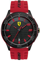 Ferrari Mens Scuderia XX Black Stainless Steel Red Silicone Strap Watch