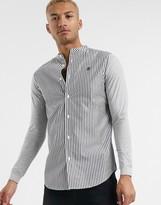 SikSilk pinstripe grandad collar shirt