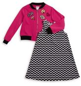 Sweet Heart Rose Sweetheart Rose Little Girl's Two-Piece Patched Bomber and Chevron Dress Set