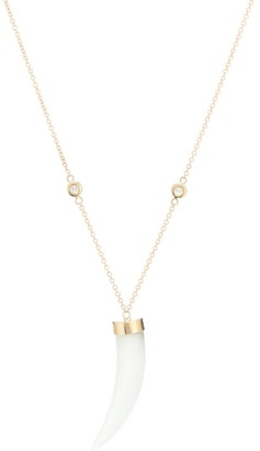 Jacquie Aiche Horn 14kt gold necklace with diamonds