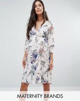Mama Licious Mama.licious Floral Printed Wrap Dress