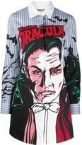 Moschino Monster Dracula print stripe shirt dress