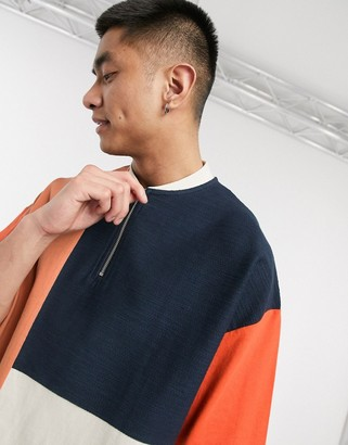 ASOS DESIGN oversized t-shirt with baseball zip neck and color block