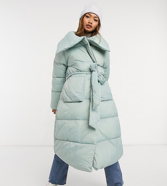 NATIVE YOUTH oversized longline puffer coat with belt and collar detail