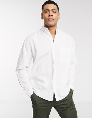Asos DESIGN relaxed fit button collar linen shirt in white