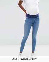 Asos Lisbon Skinny Jeans in Lara Mid Stone Wash with Stepped Hem With Under The Bump Waistband