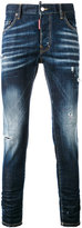 DSQUARED2 faded slim fit jeans - men - Cotton/Calf Leather/Polyester/Spandex/Elastane - 48