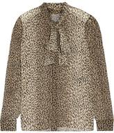 Saint Laurent Pussy-bow Leopard-print Silk-georgette Shirt - Leopard print