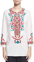 Figue Lisbette Embroidered Tunic Top, White