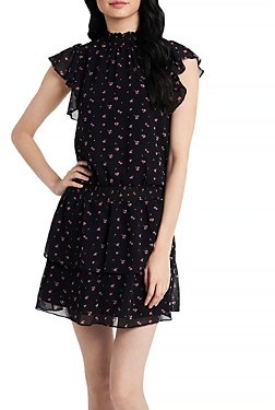1 STATE Poetic Rosettes Printed Smocked Dress