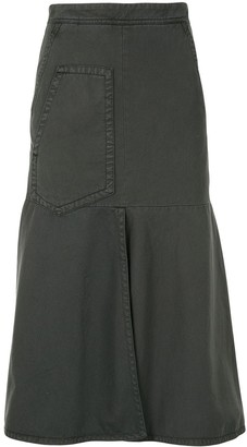 Tibi flared A-line denim skirt
