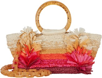 Carolina Santo Domingo Corallina Fringed Straw Tote