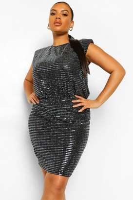 boohoo Plus Shoulder Pad Sequin Bodycon Dress
