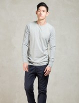Wings + Horns Grey 1x1 Slub L/s Crewneck T-shirt