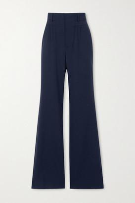 Altuzarra Zeke Grain De Poudre Wool-blend Flared Pants - Navy