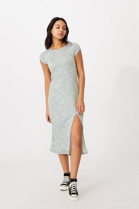 Cotton On Elsa Short Sleeve Split Front Midi Dress