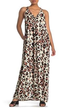 Love Stitch V-Neck Racerback Leopard Print Maxi Dress