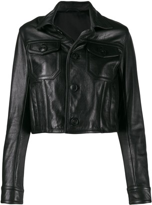 Ami Patch Pockets Leather Jacket