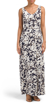 Printed Ruched Waist Maxi Dress