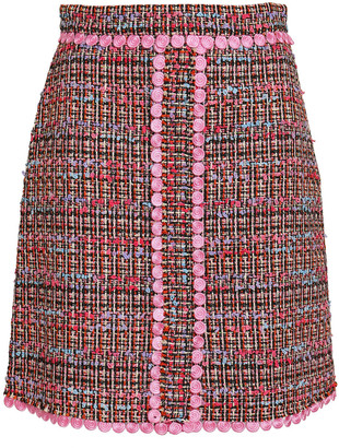 Boutique Moschino Appliqued Boucle-tweed Mini Skirt
