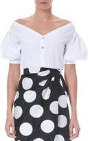Carolina Herrera Off-the-Shoulder Pouf-Sleeve Button-Down Shirt