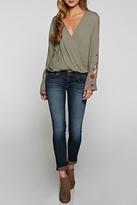 Love Stitch Embroidered Bell Sleeve Top
