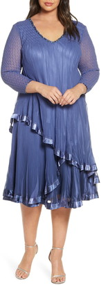 Komarov Beaded Tiered Chiffon Dress