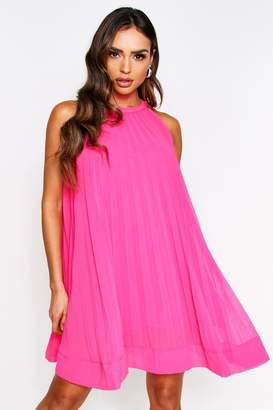 boohoo Pink Pleated Halterneck Swing Dress