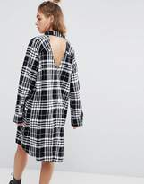 Cheap Monday Flannel Check Shirt Dress with Open Back Detail