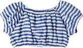 Thumbnail for your product : MonnaLisa Striped Linen Blend Crop Top