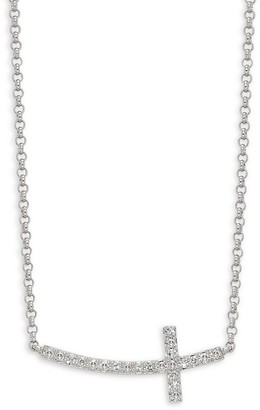 Effy 14K White Gold Diamond Sideways Cross Pendant Necklace