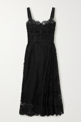 Dolce & Gabbana Cotton-blend Chantilly Lace Midi Dress - Black