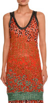 Missoni Leaf-Embroidered Tank Top, Red