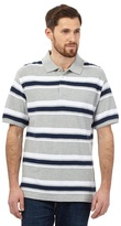 Maine New England Big And Tall Grey Block Striped Polo Shirt