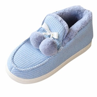 TEELONG Women's Warm Lined Slippers Casual Home Indoor and Outdoor Shoes Winter Cotton Slippers Booties Comfy Memory Foam Sole Shoes Comfort Anti-Slip Bedroom Shoes (Blue 4/4.5 UK)