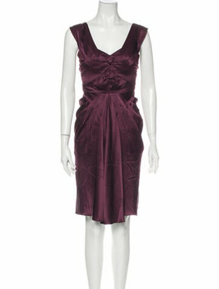 Zac Posen Scoop Neck Knee-Length Dress Purple