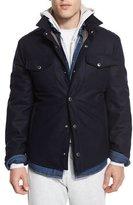Brunello Cucinelli Flannel Wool-Blend Shirt Jacket, Navy