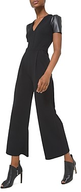 MICHAEL Michael Kors Faux Leather Sleeve Jumpsuit