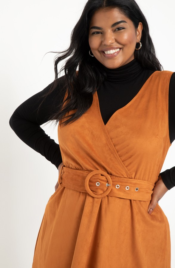 Thumbnail for your product : ELOQUII Faux Suede Jumper Dress